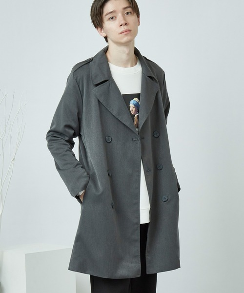 T/R スーツ地 オーバートレンチコート(MONO-MART)