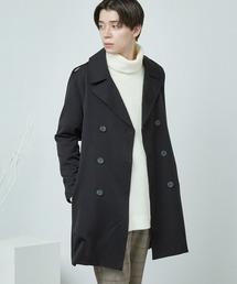 T/R スーツ地 オーバートレンチコート(MONO-MART)ブラック
