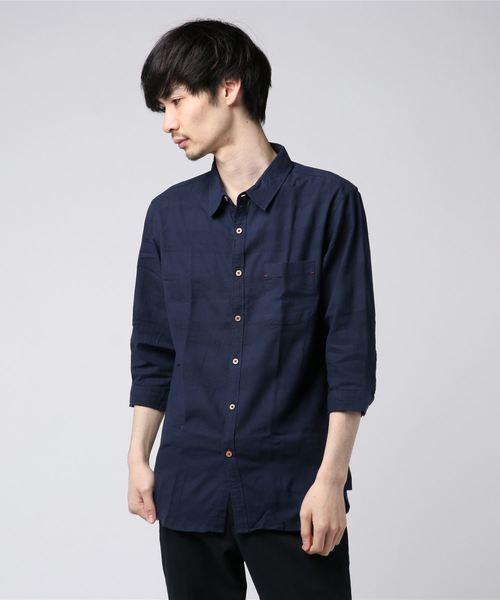 パナマ織りレギュラーカラー七分袖シャツ(IR)