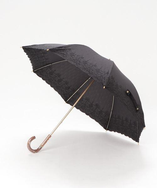 ∴晴雨兼用 UV バリア T/C裾スカラーオーナメント刺繍ショート長傘 27075