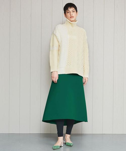<H>DOUBLE CLOTH SEMI FLARE SKIRT/スカート