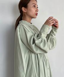 【SANSeLF】 Se original tuck blouse sanwz1ミント