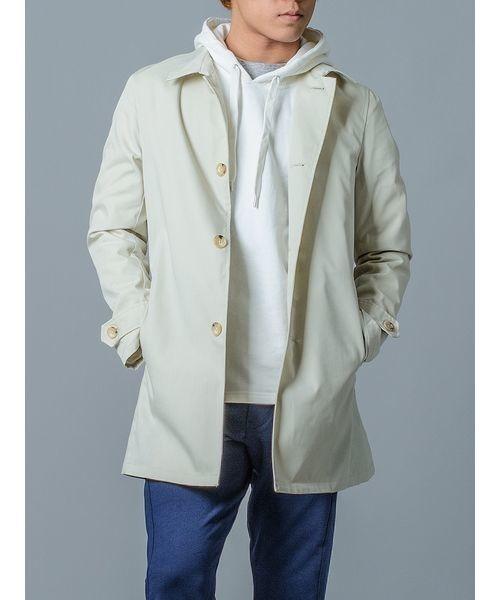 【EVOLUTION】ライトなステンカラーコート メンズスプリングコート