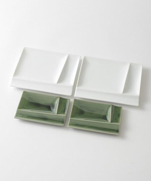 IDEA(イデア)の「isolaパレット ペア4pcsセット(食器)」 ホワイト×グリーン