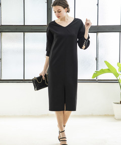 【STYLEBAR】パールボタンボリュームスリーブドレス