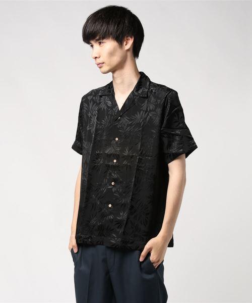 【70%OFF】 リーフジャガード開襟シャツ, 手作り工房遊 2c043792