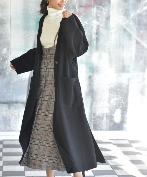 rps(アールピーエス)の「ベルト付きノーカラーウールコート(ノーカラーコート)」|ブラック