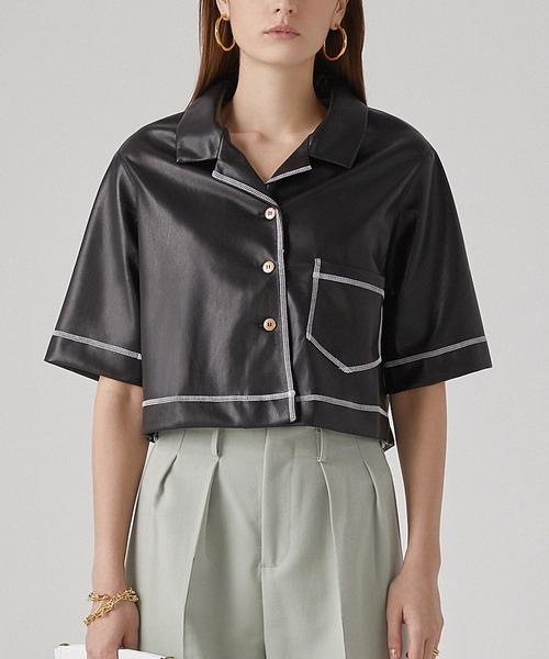 【chuclla】【2021/SS】PU Half-sleeve shirt chw1411