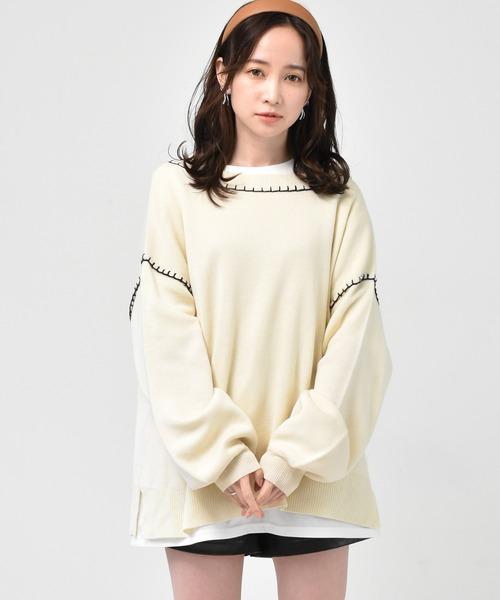 【セットアイテム】ステッチ配色ニット+プリントTEE