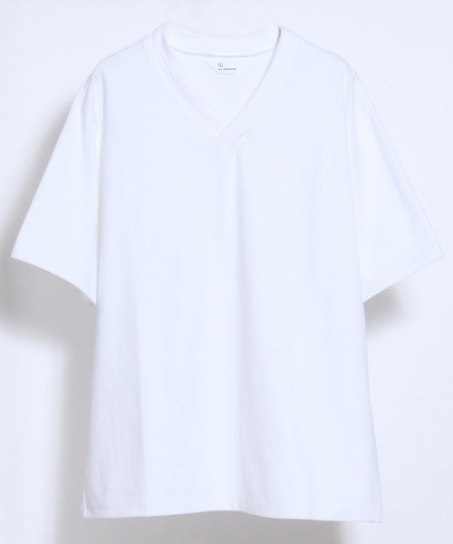 10 by juha stable garments(テンバイユハ ステーブルガーメンツ)の「DOUBLE BINDER V-NECK TEE(Tシャツ/カットソー)」|ホワイト