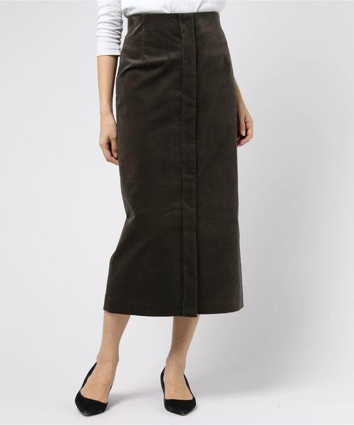 COOMB(クーム)の「ベルベットロングタイトスカート(スカート)」|チャコールグレー
