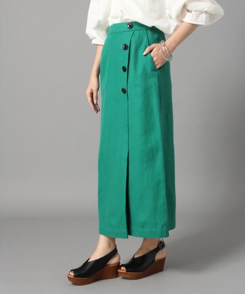LOWRYS FARM(ローリーズファーム)の「リネンサイドボタンタイトスカート 832169(スカート)」|グリーン