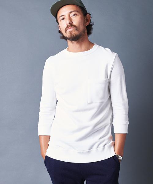 Magine(マージン)の「ANTIQUE URAKE C/N 3/4 SL アンティーク裏毛クルーネック3/4スリーブ(Tシャツ/カットソー)」|ホワイト