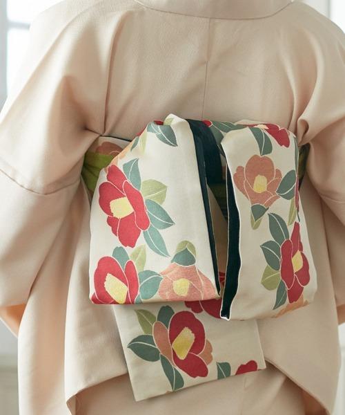 ふりふ(フリフ)の「半巾帯「椿」(和装小物)」|オフホワイト