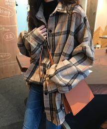 Girly Doll(ガーリードール)の起毛 ボリューム袖 チェックシャツ(シャツ/ブラウス)