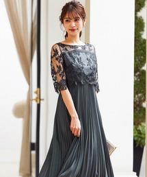 niana(ニアナ)の刺繍レース切り替えプリーツロング 結婚式ワンピース パーティードレス 成人式 同窓会 二次会 ドレス(ドレス)