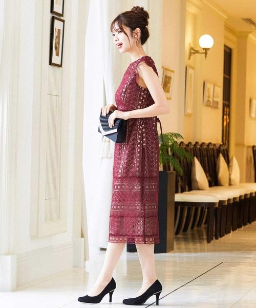 [Fashion Letter] はしごレースハイウエスト切り替え結婚式ワンピースドレス