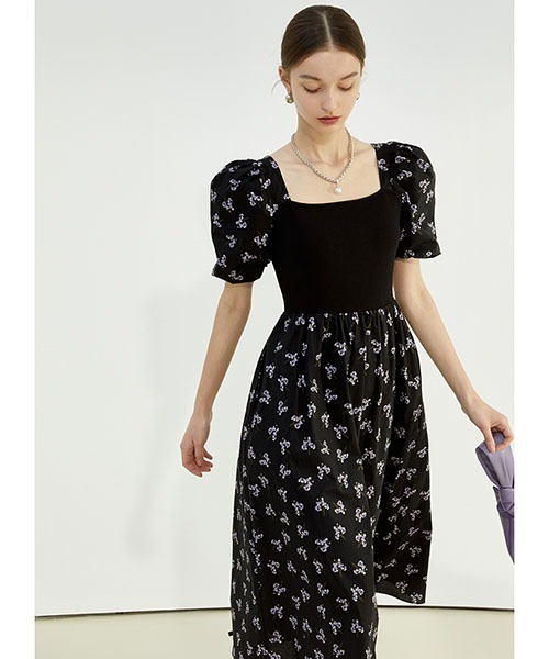 【Fano Studios】【2021SS】Romantic flower print puff sleeve dress FC21L046