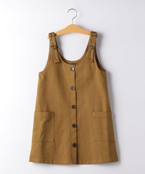 【キッズ】ツイル フロントボタン ジャンパースカート