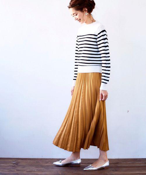 Perle Peche(ペルルペッシュ)の「サテンアコーディオンプリーツスカート(スカート)」|キャメル