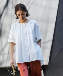 サイドリボンフレアシャツ(ポンチョ風)オフホワイト