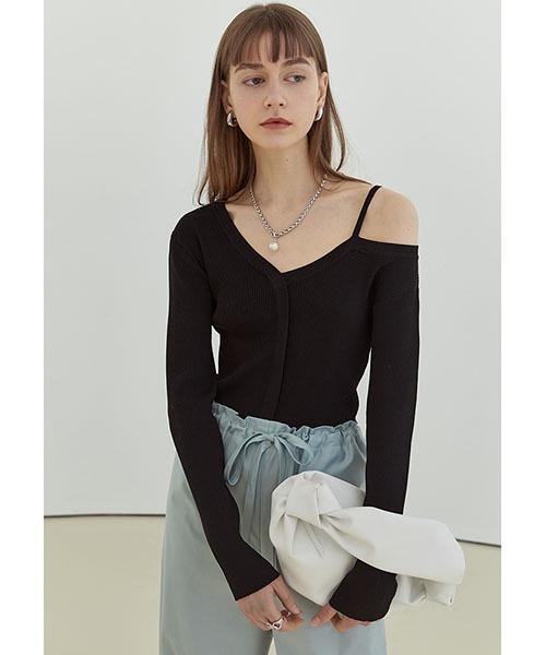 【Fano Studios】【2021SS】Asymmetry strap V neck knit FX21S075
