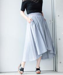 mysty woman(ミスティウーマン)の綿ブロードロンストフレアーイレヘムスカート(スカート)