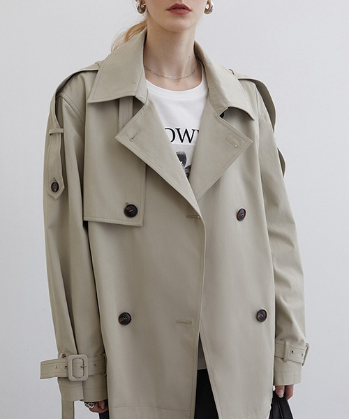 【Fano Studios】【2021SS】 Double breasted middle length wide trench coat cb-3 FC21W042