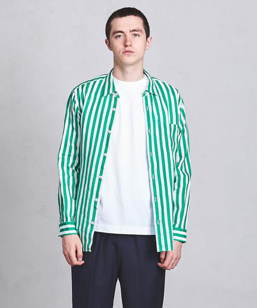 UASB プリントストライプ リネンシャツ ◆