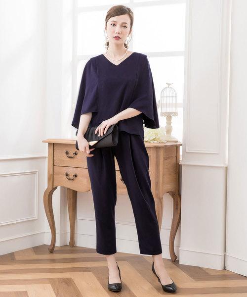 DRESS STAR(ドレス スター)の「ケープ風デザインセットアップドレス(セットアップ)」|ネイビー