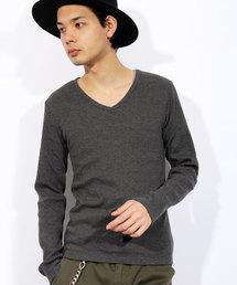 8(eight)(エイト)の無地 Vネック ロングTシャツ カットソー(Tシャツ/カットソー)