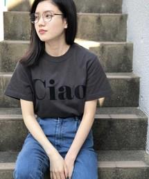 PICCIN(ピッチン)のCiaoロゴフロッキーTシャツ(Tシャツ/カットソー)
