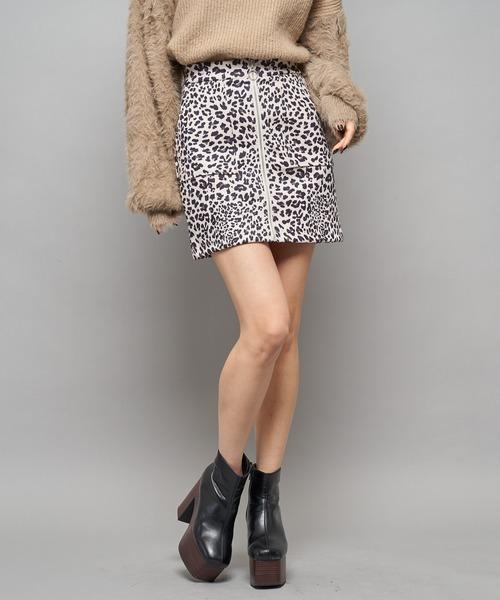 フロントジップレオパード柄スカート
