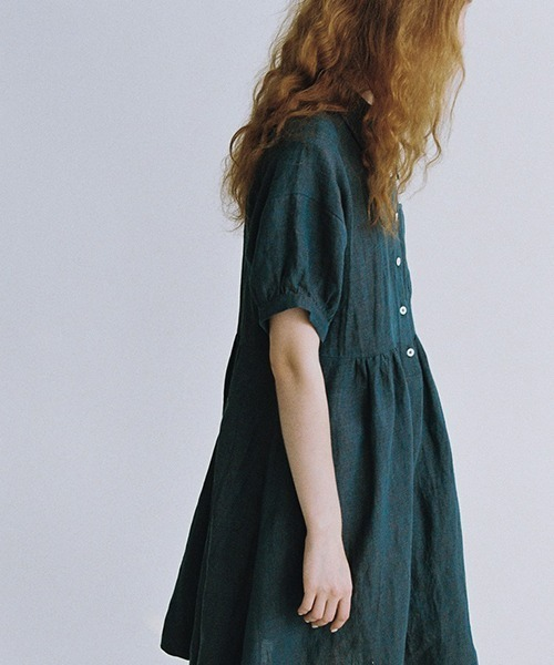 【LeonoraYang】Linen puff sleeve dress chw1547