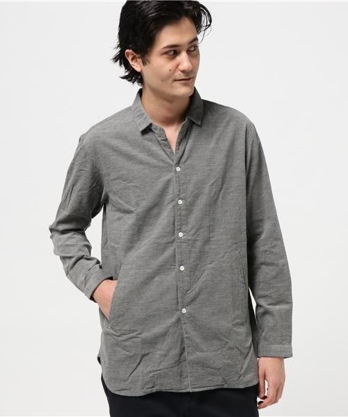 綿トップコーデュロイプルオーバー風ミニ襟シャツ