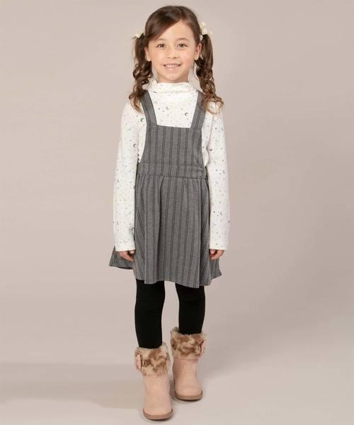 motherways(マザウェイズ)の「ガールズ 肩紐付ジャンパースカート 全3柄(スカート)」|チャコール