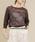cuff(カフ)の「強撚綿 透かし花柄 ジャガード プルオーバー(ニット/セーター)」|ブラウン