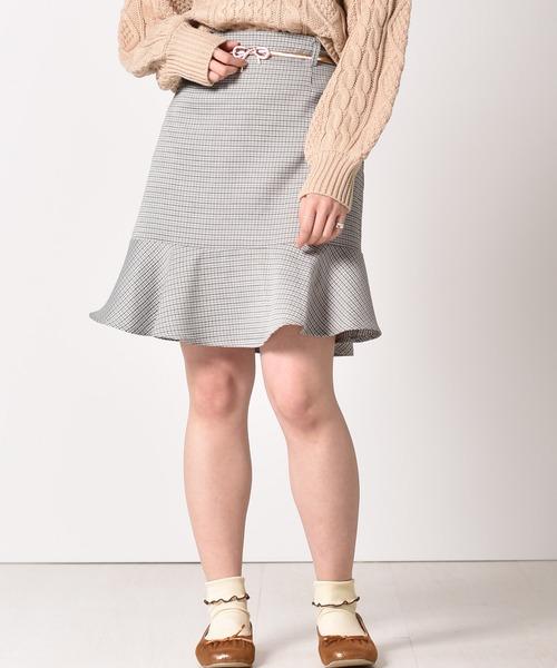 ベルト付ミニマーメイドスカート