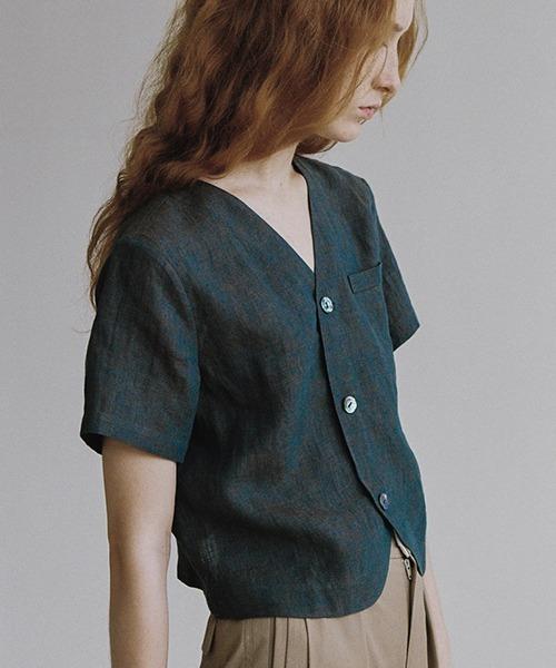 【LeonoraYang】Linen half-sleeve jacket chw1548