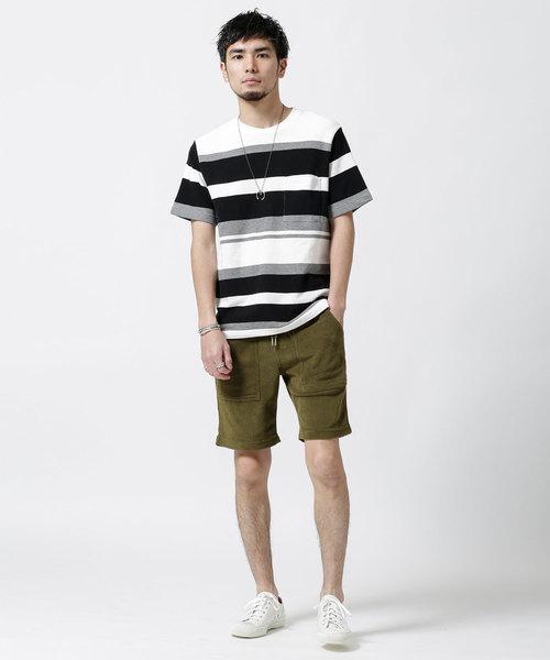 インレイパネルボーダーTシャツ