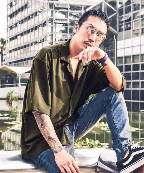 ルーズシルエット半袖シャツ/シャツ メンズ 半袖シャツ オープンカラーシャツ 半袖 開襟