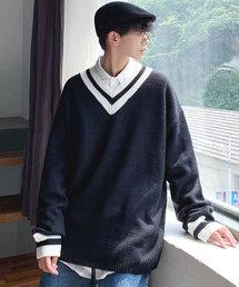 neos(ネオス)の【neos -addictive design-】オーバーサイズ Vネック チルデン セーター(ニット/セーター)