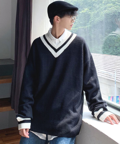 neos(ネオス)の「【neos -addictive design-】オーバーサイズ Vネック チルデン セーター(ニット/セーター)」|ブラック