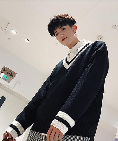 【neos -addictive design-】オーバーサイズ Vネック チルデン セーター