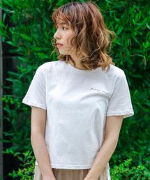 select MOCA(セレクトモカ)の英字レタリングロゴTシャツ(コットンラウンドネックボックスシルエットTシャツ)(Tシャツ/カットソー)