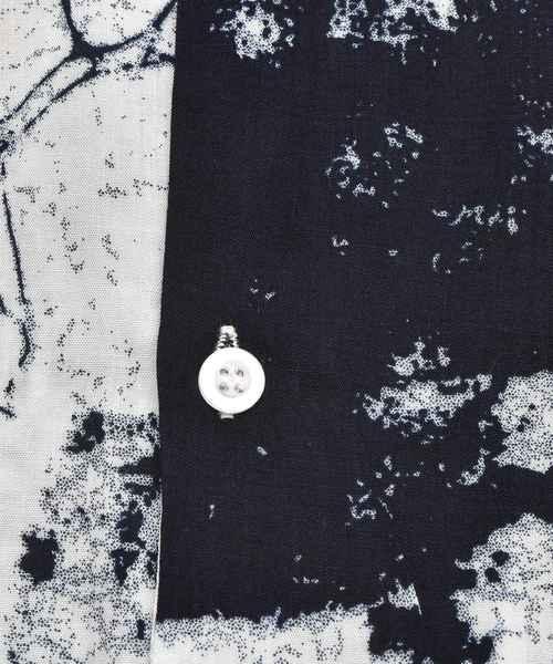 大理石柄オープン半袖カラーシャツ 開襟 開襟シャツ オープンカラーシャツ 幾何学