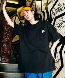 Carhartt(カーハート) ビッグシルエット ポケット半袖 ロゴ Tシャツ Workwear Pocket 1/2 Sleeve T-Shirts (BASQUE magenta)ブラック