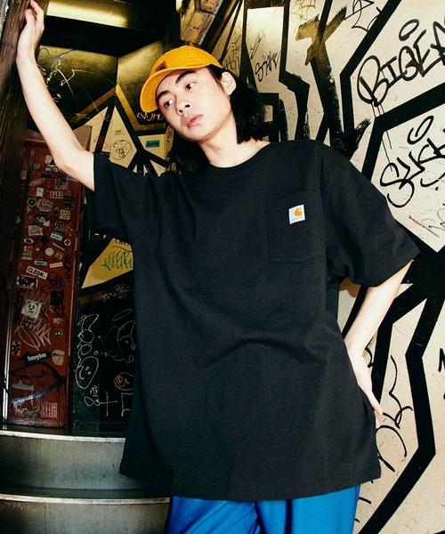 Carhartt(カーハート) ビッグシルエット ポケット半袖 ロゴ Tシャツ Workwear Pocket 1/2 Sleeve T-Shirts (BASQUE magenta)