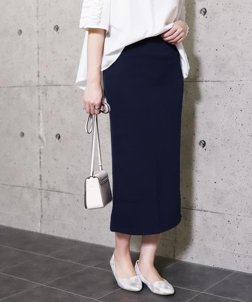 reca(レカ)の「全7色ウエストゴムリブスウェットスカート(スカート)」|ネイビー