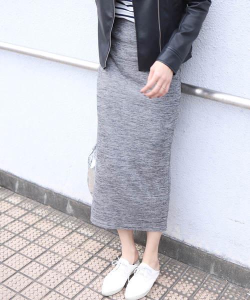 reca(レカ)の「全7色ウエストゴムリブスウェットスカート(スカート)」|ライトグレー